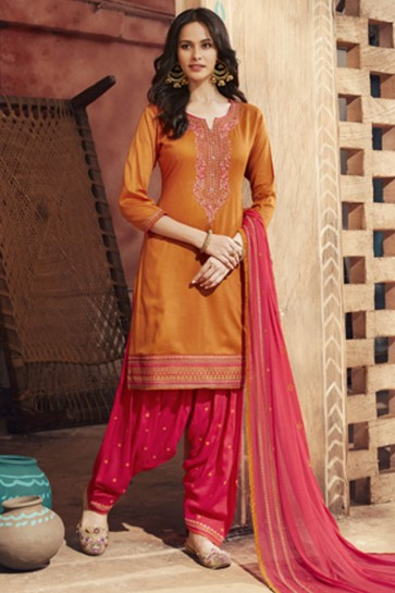 Orange Cotton Satin Embroidered Patiala Party Wear Salwar Suit With Nazmin Dupatta