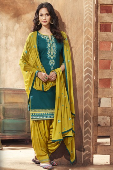 Marvelous Green Cotton Satin Embroidered Patiala Suit With Nazmin Dupatta