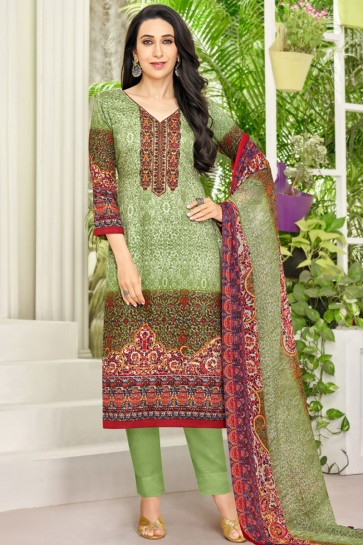 Karisma Kapoor Charming Green Satin Printed Casual Wear Designer Salwar Suit With Chiffon Dupatta