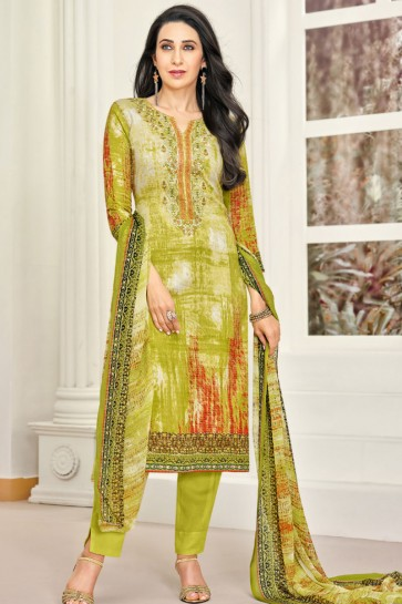 Karisma Kapoor Charming Green Satin Printed Casual Wear Salwar Suit With Chiffon Dupatta