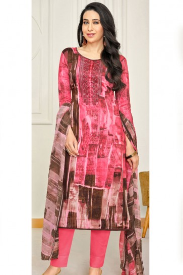 Karisma Kapoor Desirable Pink Satin Printed Casual Wear Designer Salwar Suit With Chiffon Dupatta