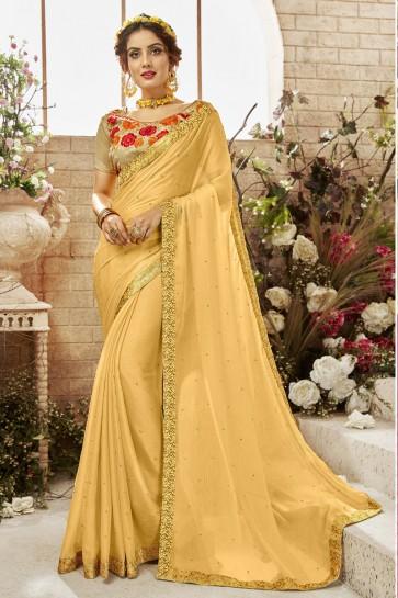 Gorgeous Yellow Chiffon Lace Work Saree With Banglori Silk Blouse