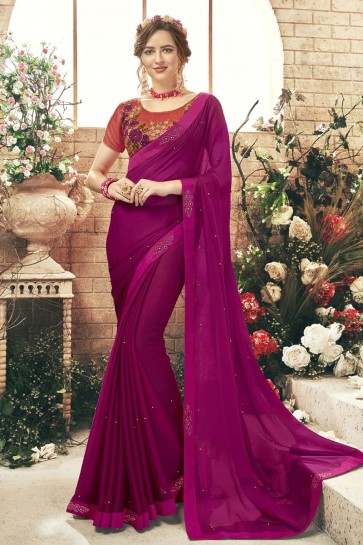 Pretty Purple Chiffon Lace Work Saree With Embroidered Blouse