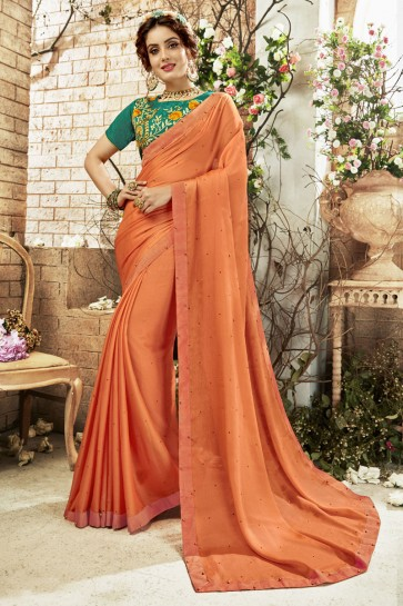 Orange Georgette Casual Saree With Embroidered Blouse