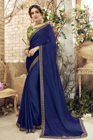 Classic Navy Blue Georgette Lace Work Casual Saree With Banglori Silk Blouse