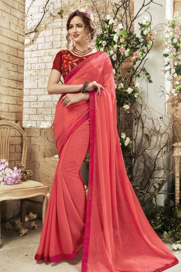 Pink Georgette Lace Work Casual Saree With Embroidered Blouse