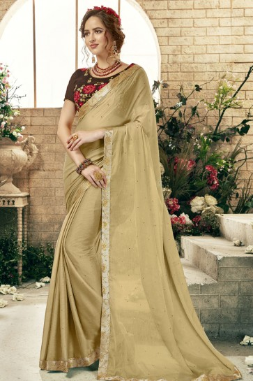 Charming Cream Chiffon Casual Saree With Embroidered Blouse