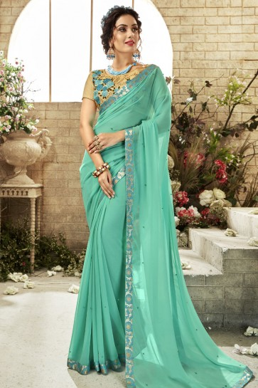 Turquoise Georgette Casual Saree With Embroidered Blouse