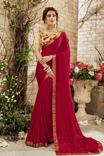 Beautiful Red Georgette Lace Work Casual Saree With Banglori Silk Blouse