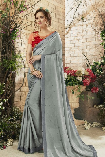 Silver Georgette Casual Saree With Banglori Silk Blouse