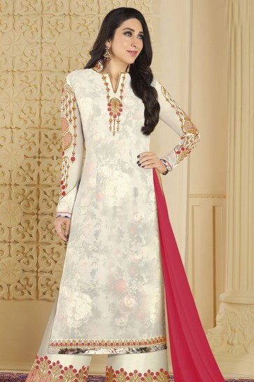 Karisma Kapoor Stylish White Faux Georgette Embroidered and Stone Work Plazo Salwar Suit
