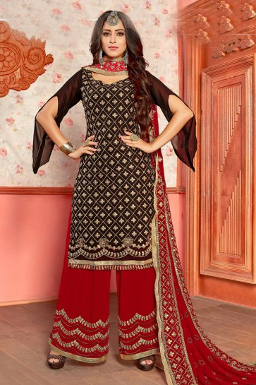 Maroon Georgette Designer Gota Patti Plazo Salwar Suit With Nazmin Dupatta