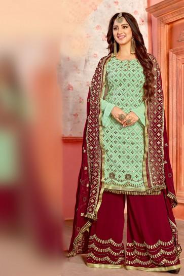Green Georgette Gota Patti Plazo Salwar Suit With Nazmin Dupatta