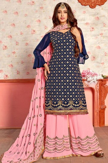 Lovely Blue Georgette Gota Patti Plazo Salwar Suit With Nazmin Dupatta