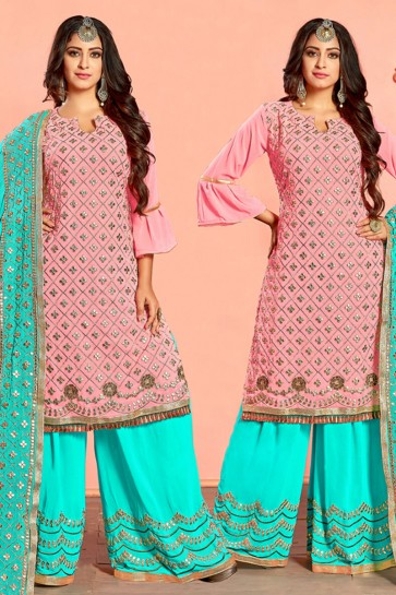 Excellent Pink Georgette Designer Plazo Salwar Suit With Nazmin Dupatta