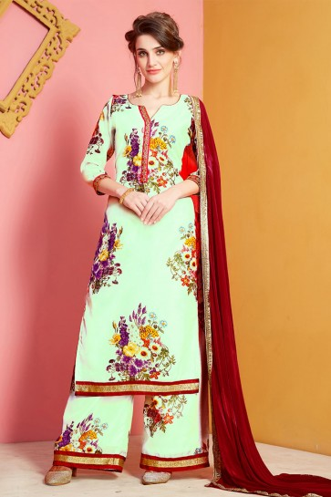 Turquoise Chanderi Designer Plazo Salwar Suit With Nazmin Dupatta