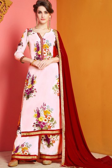 Gorgeous Pink Chanderi Designer Printed Salwar Suit With Nazmin Dupatta