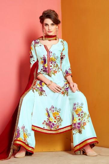 Classic Sky Blue Chanderi Designer Plazo Salwar Suit With Nazmin Dupatta