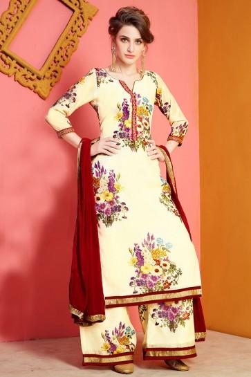 Excellent Yellow Chanderi Designer Plazo Salwar Suit With Nazmin Dupatta