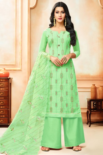 Classic Green Silk Embroidered Designer Plazo Salwar Suit With Nazmin Dupatta