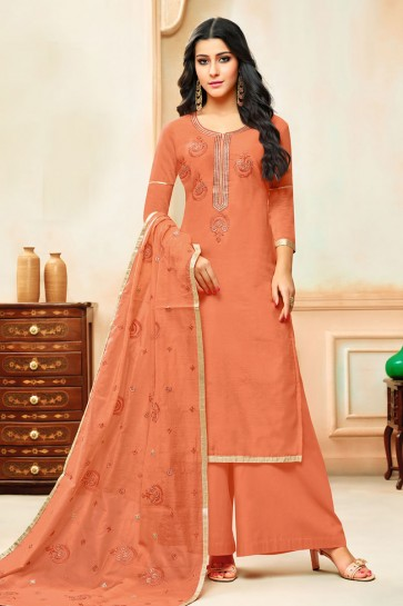 Beautiful Rust Silk Designer Embroidered Plazo Salwar Suit With Nazmin Dupatta