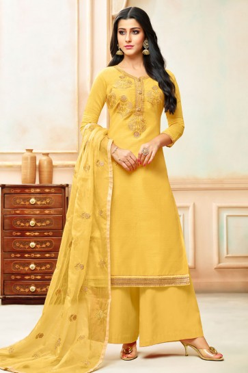 Yellow Silk Embroidered Designer Plazo Salwar Suit With Nazmin Dupatta