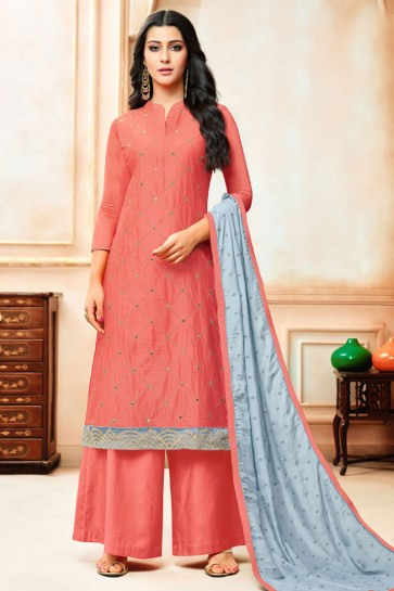 Peach Silk Embroidered Designer Plazo Salwar Suit With Nazmin Dupatta