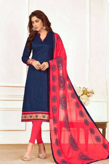Blue Cotton Designer Embroidered Casual Salwar Suit With Nazmin Dupatta