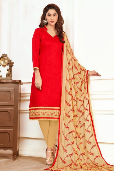 Gorgeous Red Cotton Casual Salwar Suit With Nazmin Dupatta