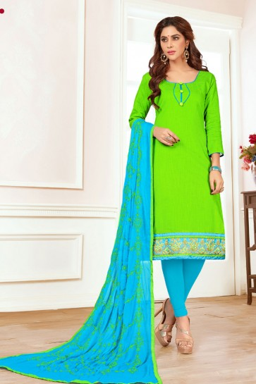 Stylish Green Cotton Embroidered Casual Salwar Suit With Nazmin Dupatta