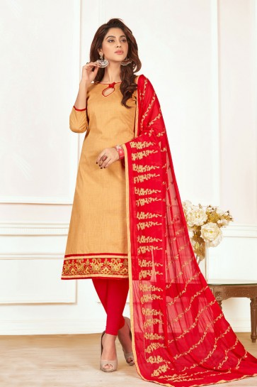 Optimum Beige Cotton Designer Casual Salwar Suit With Nazmin Dupatta