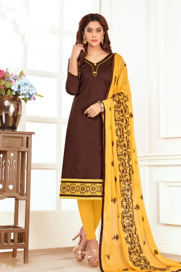 Brown Cotton Designer Embroidered Casual Salwar Suit With Nazmin Dupatta
