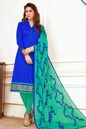 Excellent Blue Cotton Embroidered Casual Salwar Suit