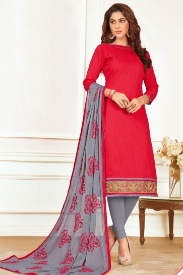 Admirable Red Cotton Casual Salwar Suit With Nazmin Dupatta