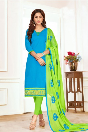Desirable Sky Blue Cotton Embroidered Casual Salwar Suit With Nazmin Dupatta