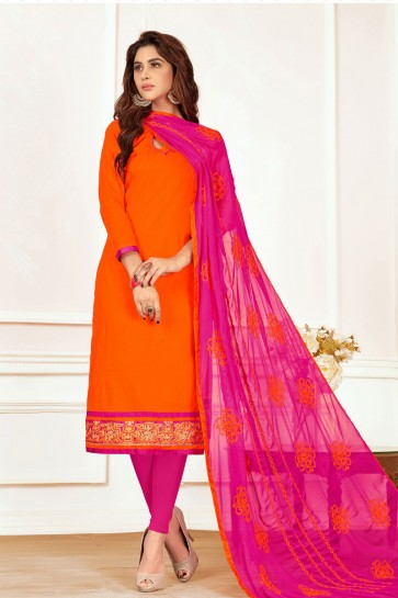 Orange Cotton Designer Casual Salwar Suit With Nazmin Dupatta