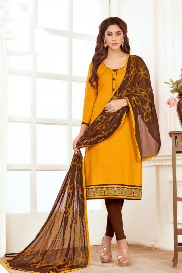 Graceful Yellow Cotton Designer Casual Salwar Suit With Nazmin Dupatta