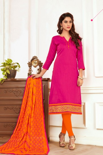 Pink Cotton Designer Embroidered Casual Salwar Suit With Nazmin Dupatta