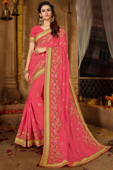 Party Wear Embroidered Baby Pink Silk Saree With Border Work Blouse