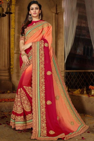Delicate Moss And Chiffon Fabric Maroon And Peach Embroidery Work Saree And Blouse