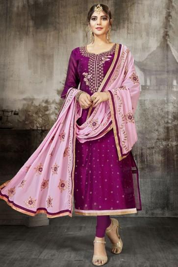 Embroidered Purple Silk Designer Salwar Suit With Georgette Dupatta