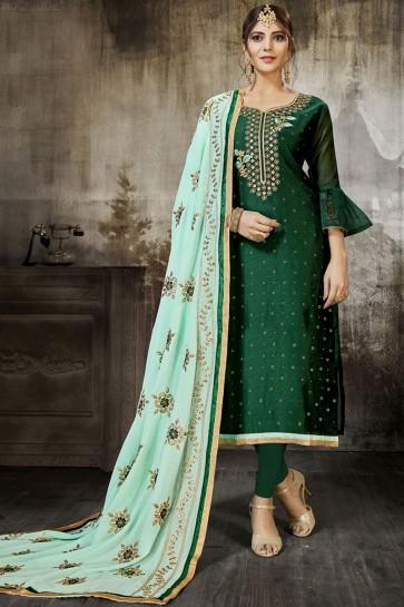 Beautiful Green Silk Embroidered Designer Salwar Suit With Georgette Dupatta