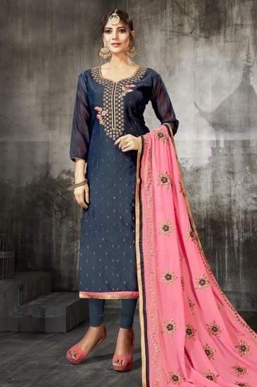 Supreme Navy Blue Silk Embroidered Designer Salwar Suit With Georgette Dupatta