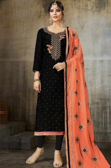 Black Silk Embroidered Designer Salwar Suit With Georgette Dupatta