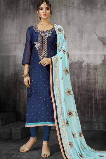 Classic Navy Blue Silk Embroidered Designer Salwar Suit With Georgette Dupatta