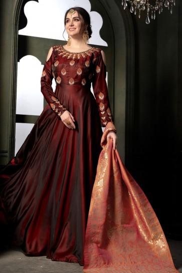 Classic Maroon Silk Embroidered Designer Anarkali Salwar Suit With Banarasi Silk Dupatta