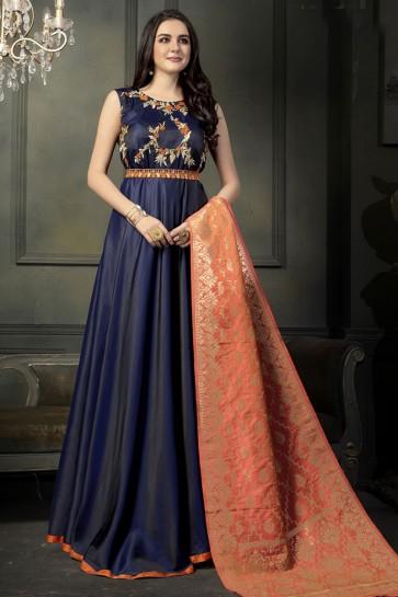 Embroidered Navy Blue Silk Anarkali Salwar Suit With Banarasi Silk Dupatta