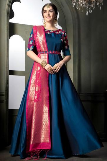 Beautiful Royal Blue Silk Embroidered Designer Anarkali Salwar Suit With Banarasi Silk Dupatta