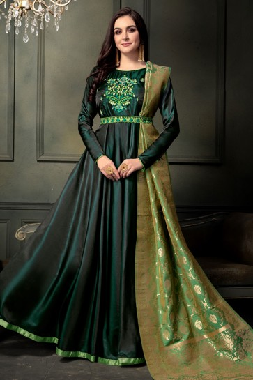 Green Silk Embroidered Designer Anarkali Salwar Suit With Banarasi Silk Dupatta