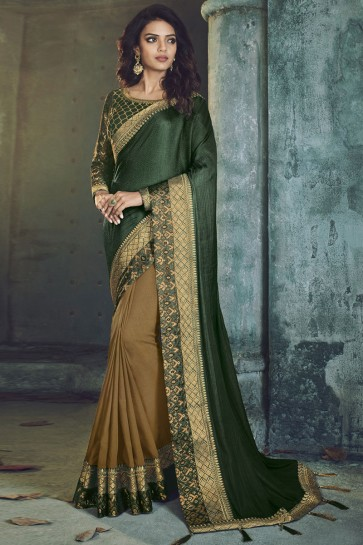 Green Fancy Fabric Designer Jacquard Work Saree
